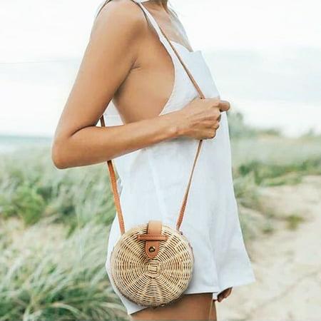 Grtsunsea 2019 Fashion Women Vintage Beach Straw Bag Ladies Handmade Woven Rattan Messenger Handbag Summer Bali Bohemian Crossbody Bamboo Shoulder (Best Beach Bag 2019)