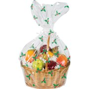 Pack of 12 Christmas Holly Printed Large Cellophane Gift Basket Bags 12.5""