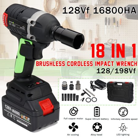 128vf 18IN1 0-3500 RPM 16800mah 350 N.m Torque Electric Brushless Cordless Handheld Impact Wrench Hammer Drill Socket w/ LED lights 6 Size Wind Gun Sleeve Torque US