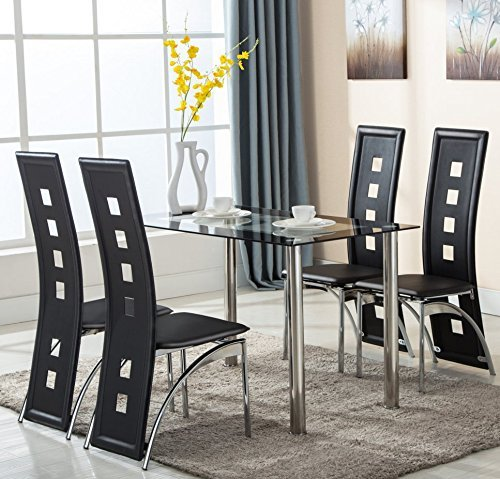 5 Piece Glass Dining Table Set 4 Leather Chairs Kitchen Furniture by Uenjoy