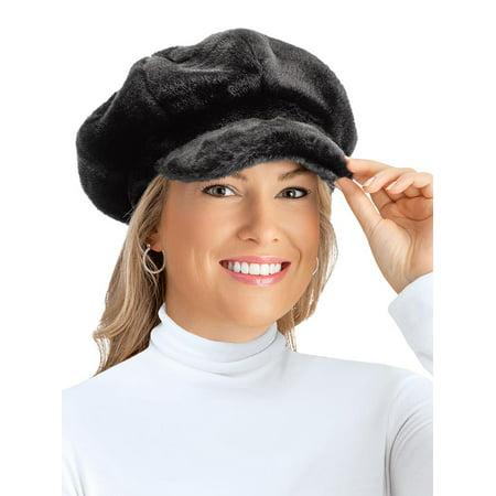 d16d2b9da1ec4 Faux Fur Newsboy Winter Hat