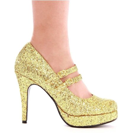 Ellie Shoes E-421-Jane-G 4 Double Strap Glitter Mary Jane 12 / Green - Double Strap Mary Jane