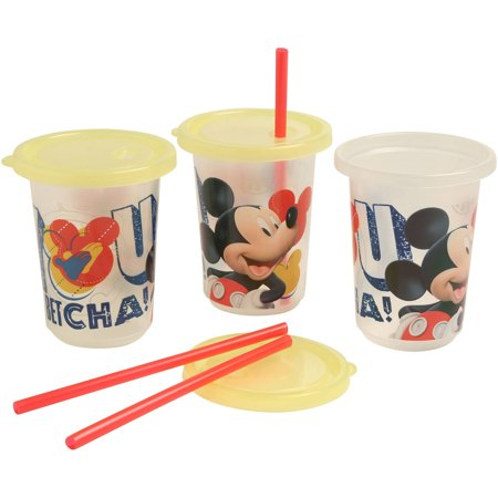 Disney Mickey Mouse Clubhouse Reusable Straw Cups, 3 Piece](Mickey Mouse Plastic Cups)