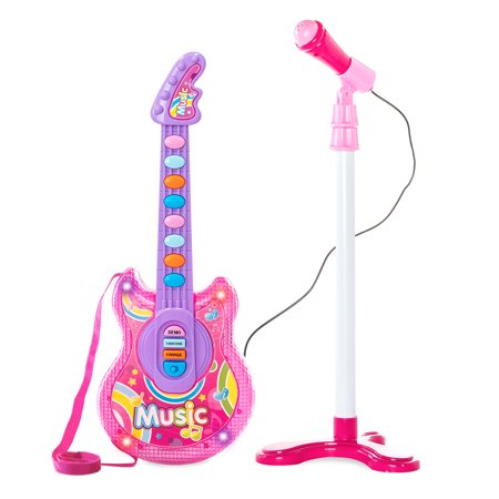 Best Choice Products 19in Kids Toddlers Electric Battery Operated Flash Guitar Pretend Play Musical Band Instrument Toy Playset w/ Microphone, Adjustable Stand, MP3 Compatibility -
