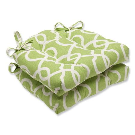 Pillow Perfect Lattice Damask Reversible Chair Pad - Set of 2