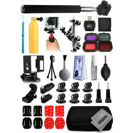 Opteka Card Reader + Filters + Selfie Stick + Skeleton Housing + Premium Case + Cleaning Kit + Floating Bobber + Mini Tripod + Adhesive Mounts + More For GoPro Hero4 Cameras (Data Card Adhesive)