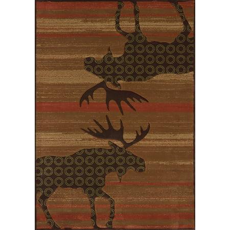 Terra Cotta Garden Rug - United Weavers Contours Lodge Area Rugs - 511-27329 Southwestern Lodge Terracotta Moose Antlers Stripes Woodgrain Rug
