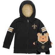 New Orleans Saints Cubcoats Toddler 2-in-1 Transforming Full-Zip Hoodie & Soft Plushie - Black