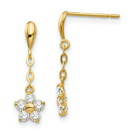 14K Yellow Gold Madi K Children's 6 MM CZ Flower Dangle Post Stud Earrings Yellow Gold Flower Earrings