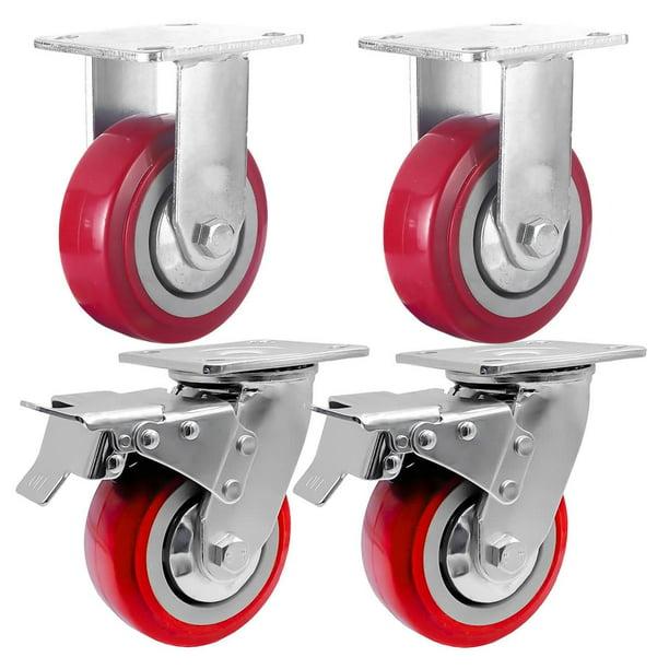 "4 Pack Combo 5/"" Red PU Caster Wheel w// Hardware 2 Swivel Brake /& 2 Rigid Fixed"