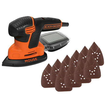 BLACK+DECKER Mouse Detail Sander With Bonus Sandpaper, (Best Hand Sander For Refinishing Furniture)
