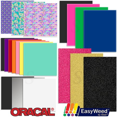 Oracal Vinyl And Siser Easyweed Heat Transfer Starter Sample Pack   20 Sheets