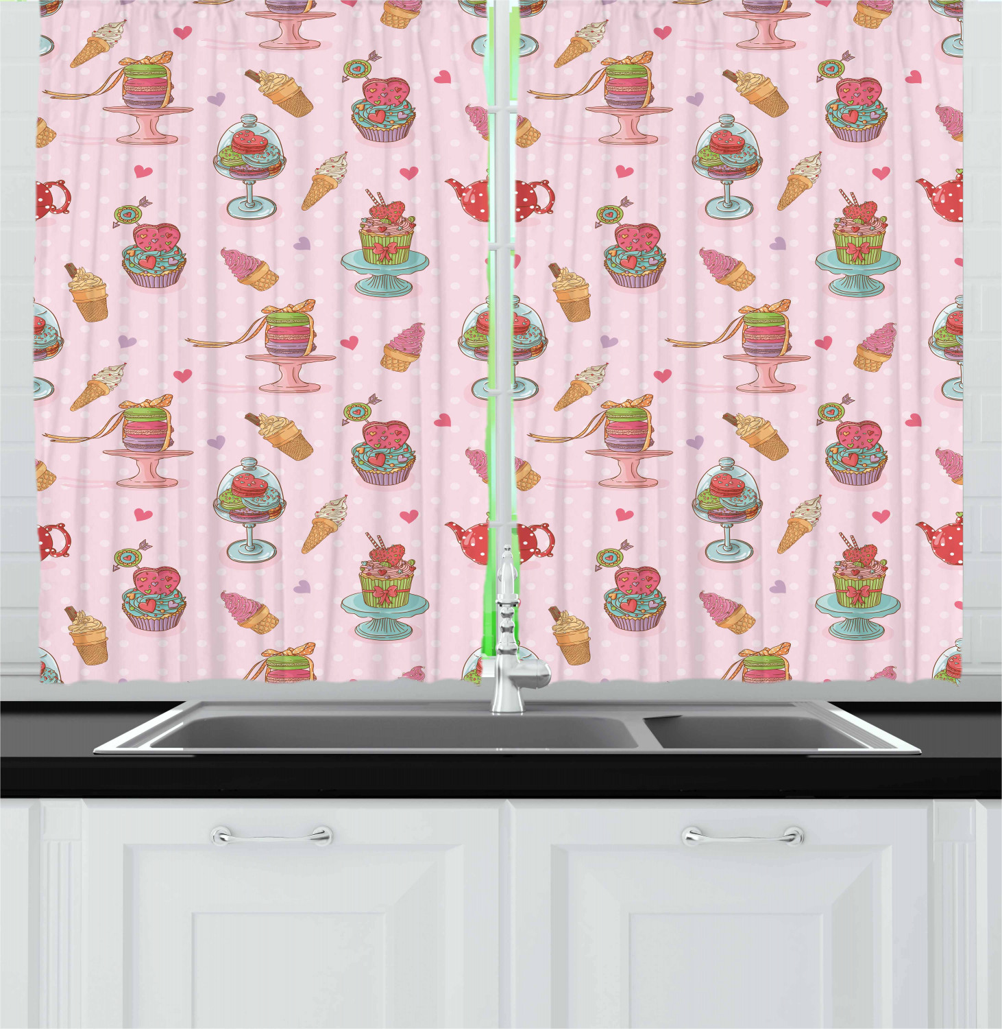 Ice Cream Curtains 2 Panels Set Retro Style Cupcakes Teapots Candies Cookies On Polka Dots Vintage Kitchen Print Window Drapes For Living Room Bedroom 55w X 39l Inches Multicolor By Ambesonne