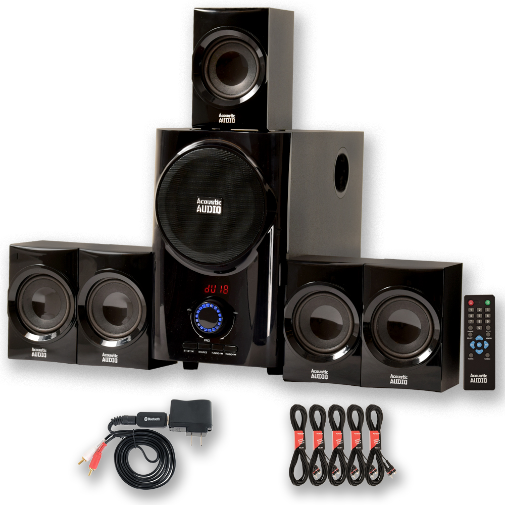 Acoustic Audio AA5160 Home Theater 5.1 Speaker System with Bluetooth FM Tuner and 5 Extension Cables