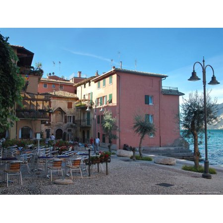 Cafe and Stores on Waterfront, Lake Garda, Malcesine, Italy Print Wall Art By Lisa S. (Waterfront Stores)