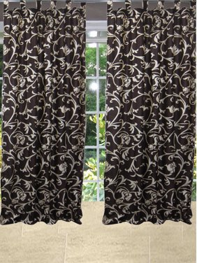 Mogul Bohemian Home Decor Curtain Drape Coffee Brown Printed Window Panel (84x48)