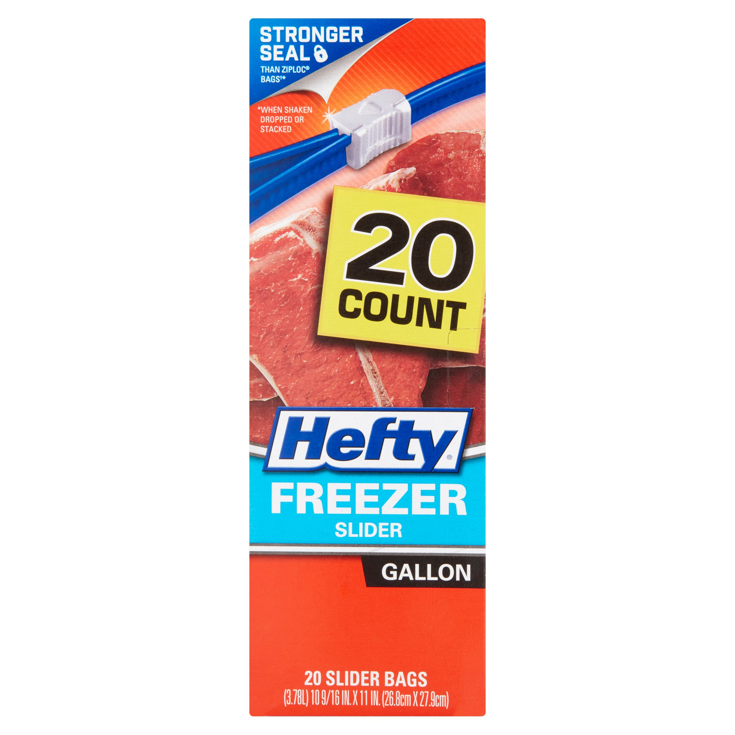 Hefty Gallon Sized Freezer Slider Bags, 20 ct