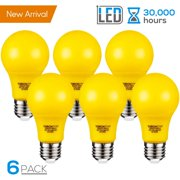 TORCHSTAR Yellow LED A19 Colored Light Bulb, 7W, Medium E27 Base, for Porch, Patio, Backyard, Entry Way, Pack of 6