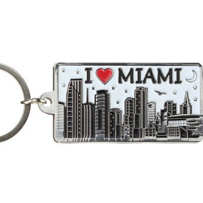 Miami White Skyline Rectangular Metal Keychain 2.25x1.25