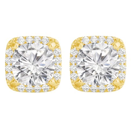 Cubic Zirconia Prong Set in 18K Gold Vermeil Earrings - image 6 de 6