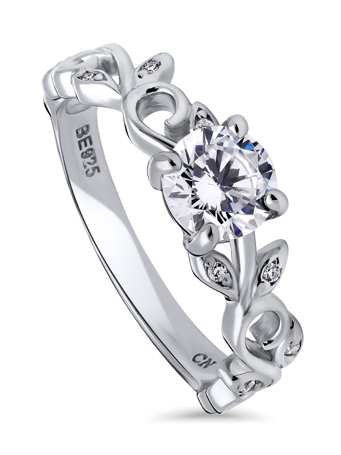 Rhodium Plated Sterling Silver Cubic Zirconia CZ Solitaire Leaf Filigree Promise Ring Size 10.5