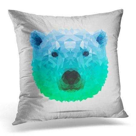 ECCOT Brown Polar Bear Low Poly Portrait Symmetric Blue Green Gradient Abstract Polygonal White Pillowcase Pillow Cover Cushion Case 18x18 inch](Low Poly Portrait)