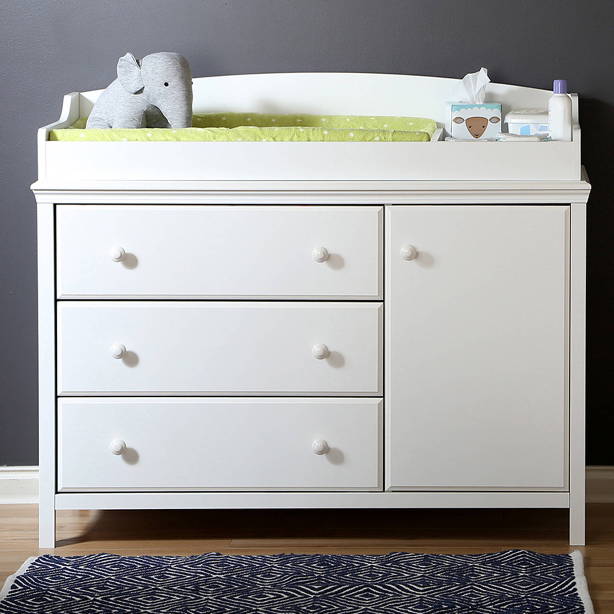 South Shore Cotton Candy Changing Table with Removable Top, Multiple Finishes