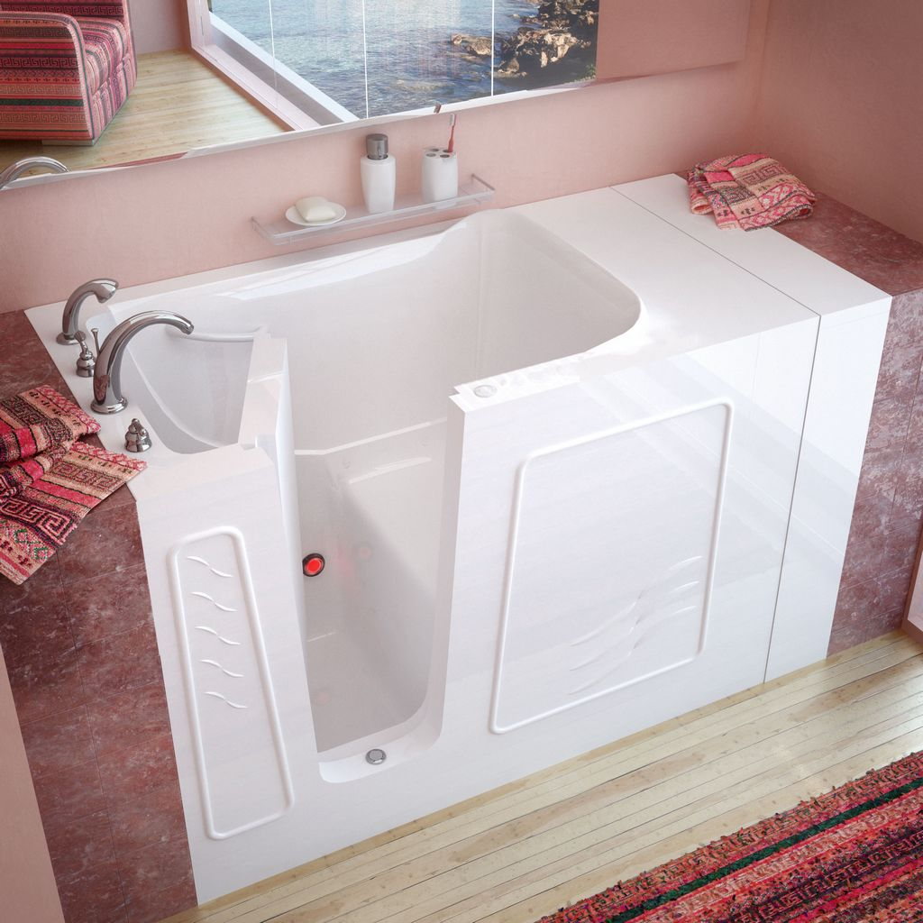 Meditub 30x53 Left Drain White Soaking Walk-In Bathtub