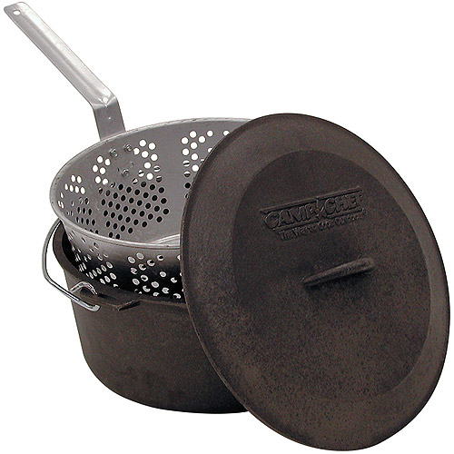 Click here to buy Camp Chef 3-Piece Pre-Seasoned Cast Iron Pot with Fry Basket by Camp Chef.