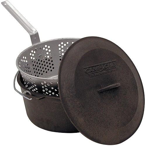 Camp Chef 3-Piece Pre-Seasoned Cast Iron Pot with Fry Basket