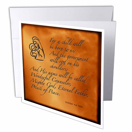 3dRose Isaiah 9 6 Bible verse predicting Jesus birth for Christmas engraved on copper background, Greeting Cards, 6 x 6 inches, set of 12 ()
