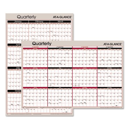 Vertical Horizontal Erasable Quarterly Wall Planner 24 X