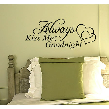 Always Kiss Me Goodnight Wall Decal Quote Vinyl Word Home Sticker Art JR13 - Printable Halloween Word Wall Words