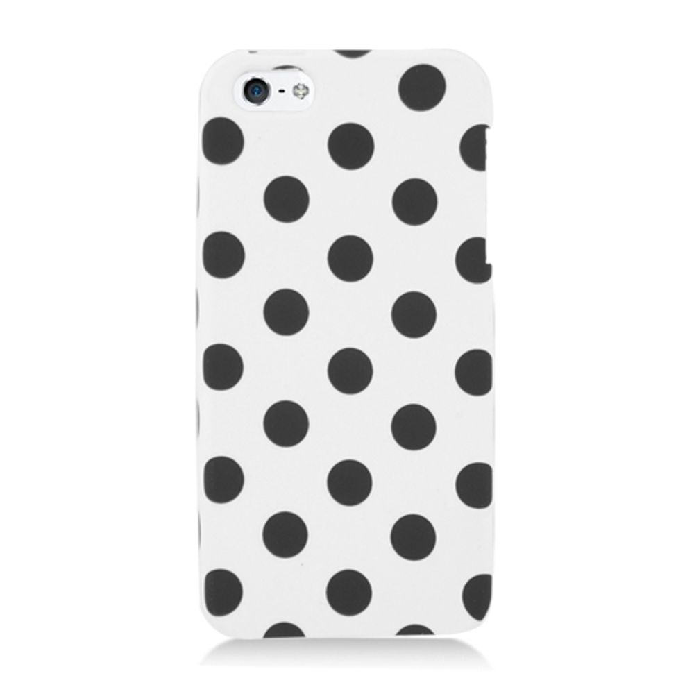 iPhone 5S Case, iPhone SE Case, by Insten Polka Dots Hard Snap-in Protective Back Case Cover For Apple iPhone 5 / 5S - White/Black - image 2 of 3