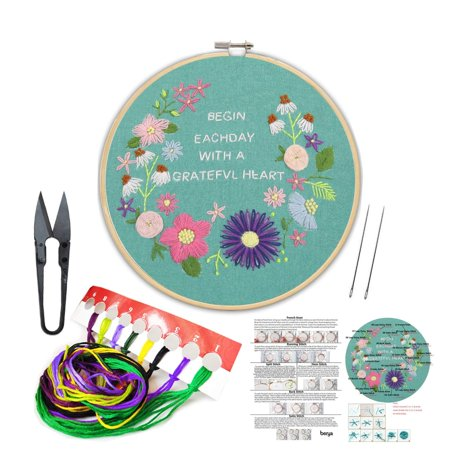 Full Set of Handmade Embroidery Starter Kit with Partten Including Embroidery Cloth,Bamboo Embroidery Hoop, Color Threads, and Tools Kit for