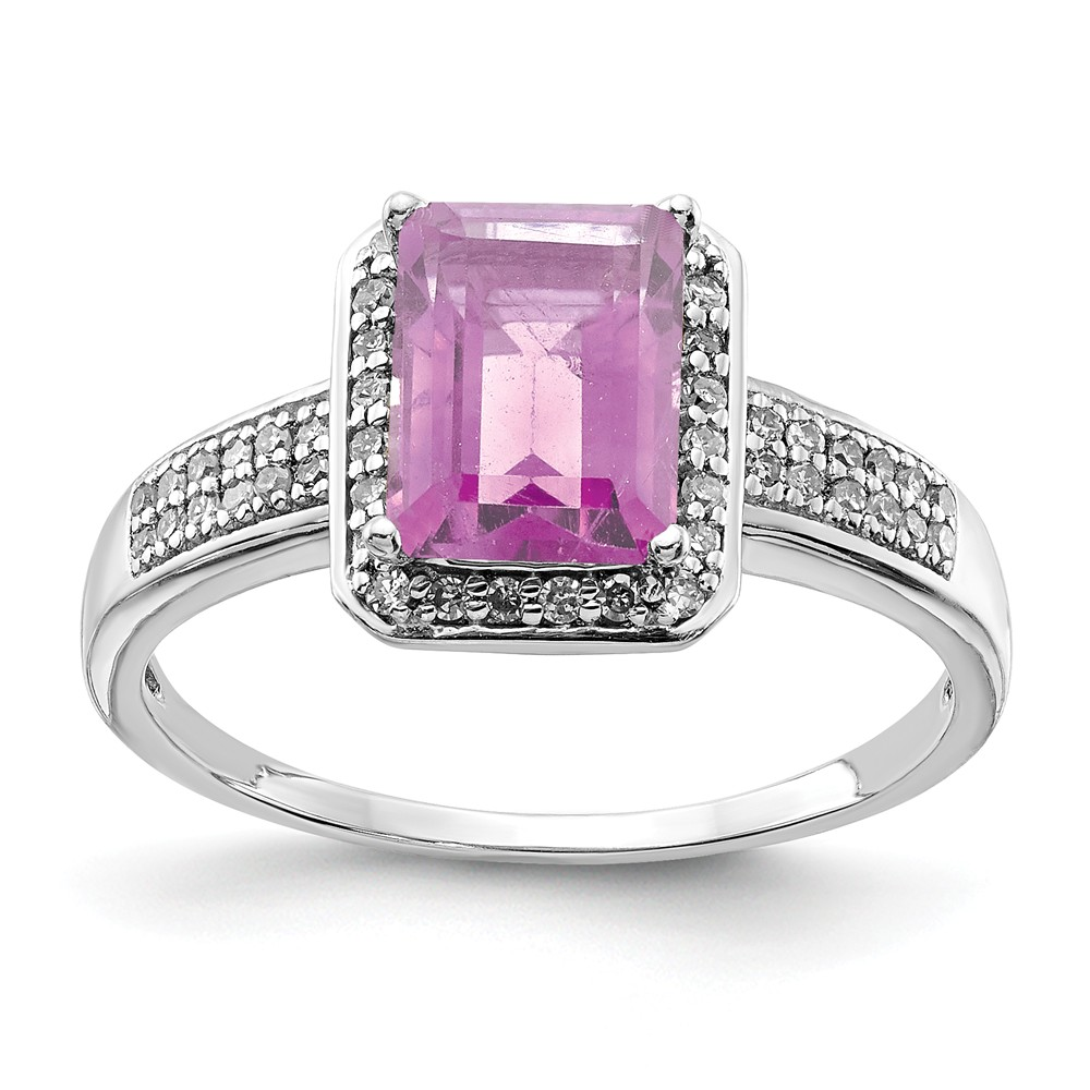 925 Sterling Silver Diamond and Octagonal Pink Quartz Ring Size-7 by