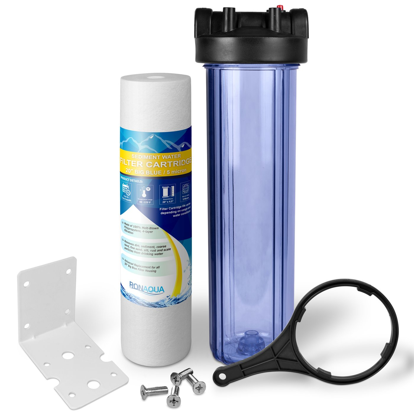"20 Inches Transparent Big Blue Housing with Presser Relief Button, 1"" Inlet/Outlet Brass Port & 5 Micron Sediment Water Filter Cartridge"