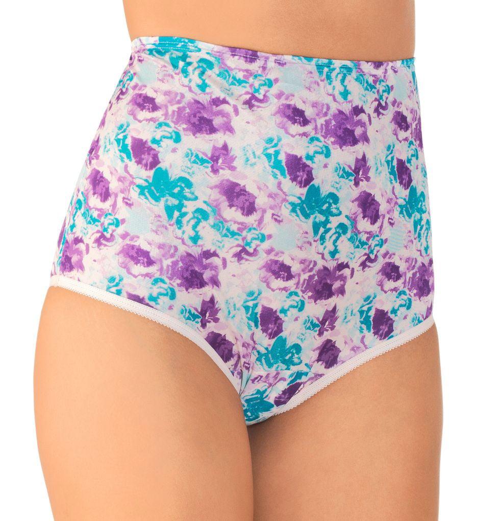 3 Vanity Fair Berry Charming Nylon Brief 15712 Panty Size 6-8 9-10