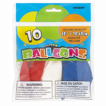 Patriotic Latex Balloons, Red White and Blue, 12in, 4-Pack (40 Balloons) - Red Balloon Toys