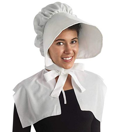 Pilgrim Bonnet White Hat Party Costume (1/pkg) Pkg/1 (Female Pilgrim Hat)