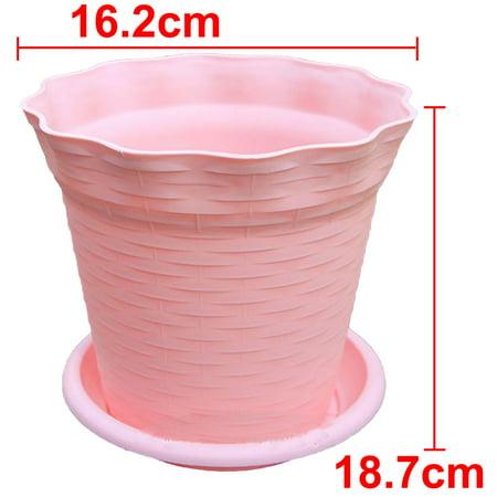 Pink 18.7cm Diameter Plastic Flower Pot Plant Planter Home Garden Decor 6pcs - image 4 de 5