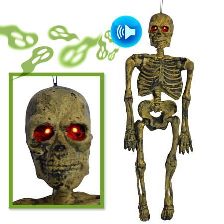 Sunrise Hanging Skeleton Electric Ghost with Light Up Eyes Scary Sound, Halloween, Haunted House Decoration](Electric Eye Halloween)
