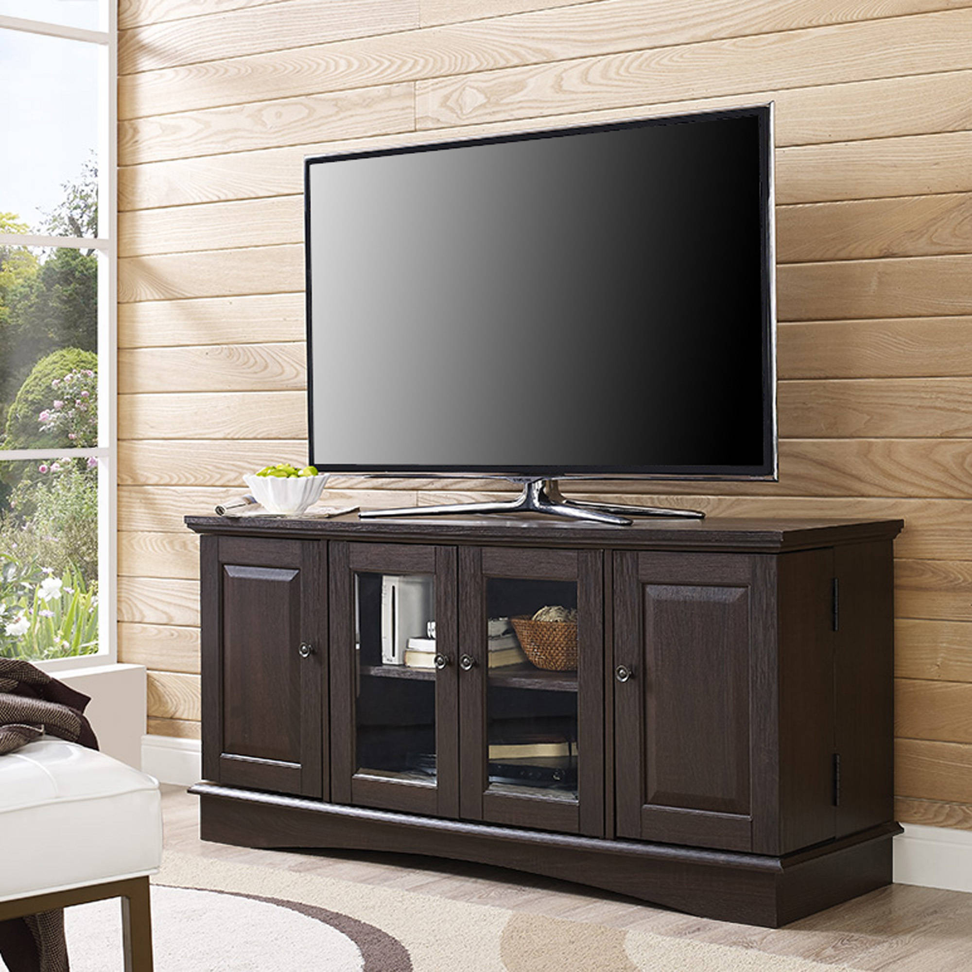 Espresso Wood TV Stand for TVs up to 55