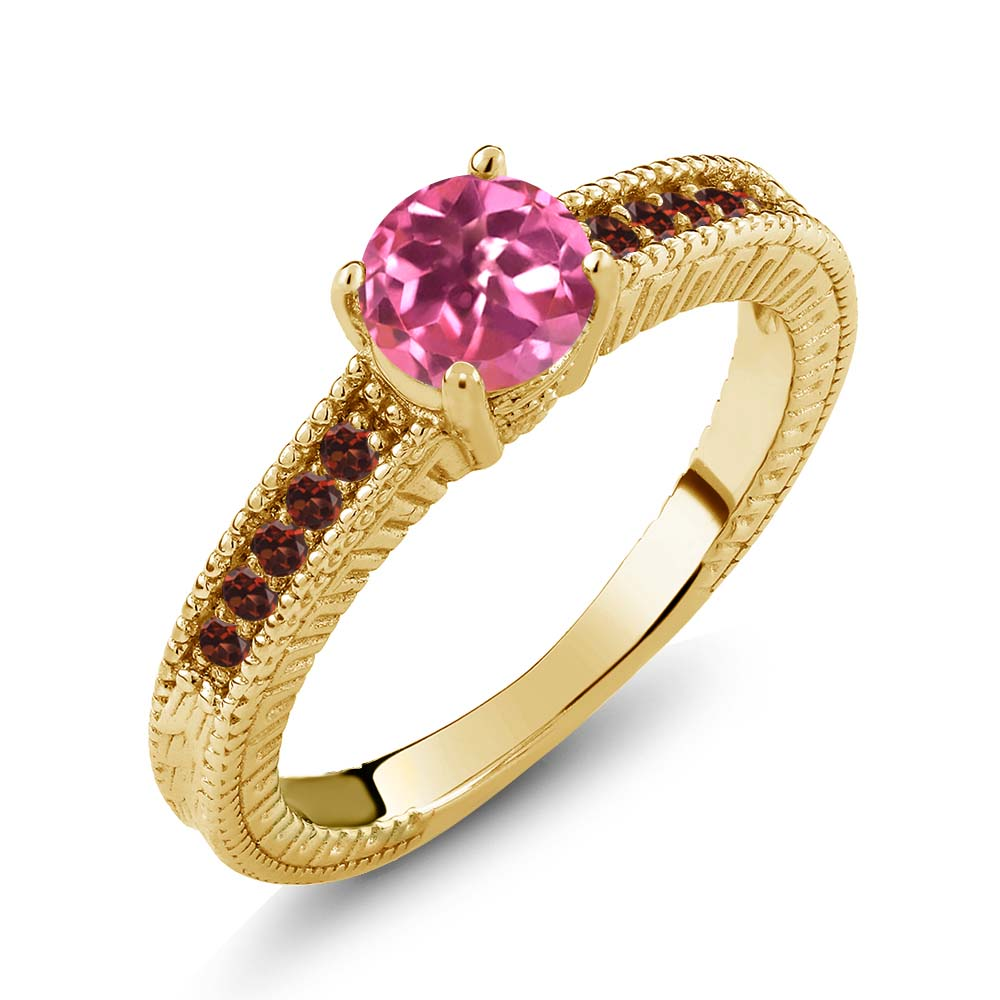 1.20 Ct Round Pink Mystic Topaz Red Garnet 14K Yellow Gold Engagement Ring by