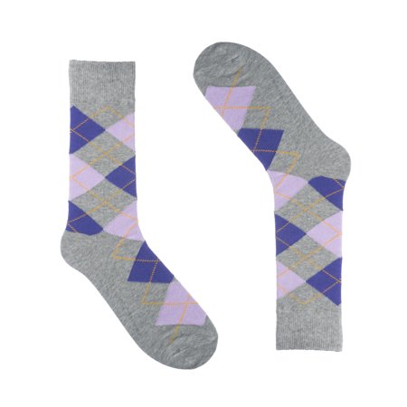 Soft Cotton Argyle Socks - Ivory + Mason - Argyle Dress Socks for Men - Light Grey - Cotton - Size 8-13 (One Pair)