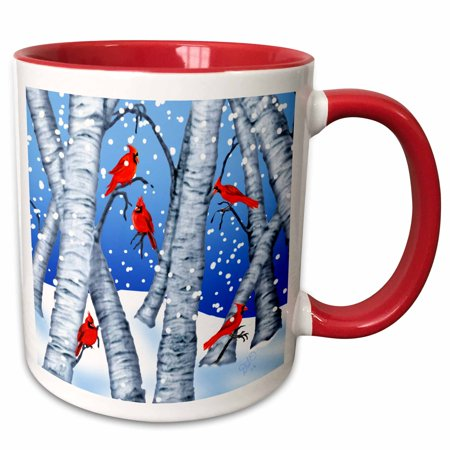 Cardinal Snow - 3dRose Digital Art Cardinal birds sitting in birch trees in Winter snow - Two Tone Red Mug, 11-ounce