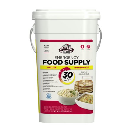 Augason Farms Deluxe Emergency 30 Day Food Supply  1 Person   200 Servings  36 600 Calories  Net Weight 20 Lbs  7 Oz