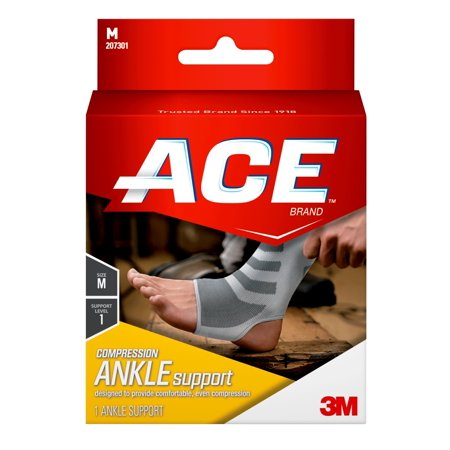 ACE Brand Compression Ankle Support, Medium, White/Gray, 1/Pack