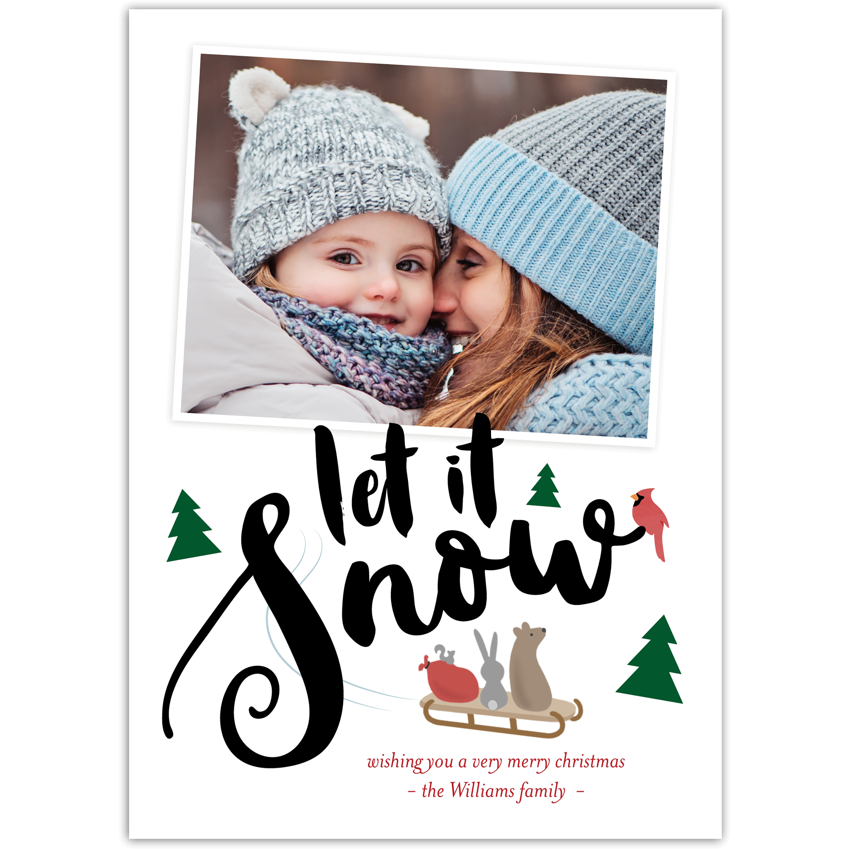 Let It Snow - 5x7 Personalized Christmas Card