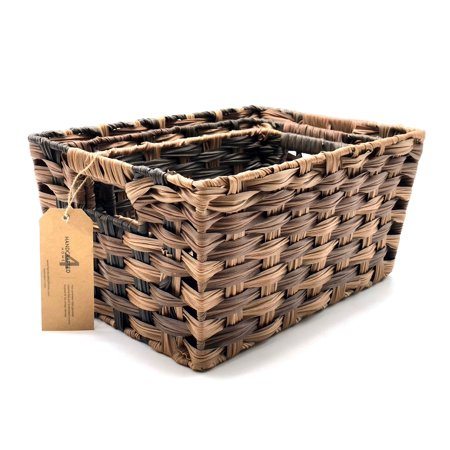Handcrafted 4 Home Plastic Nesting Baskets, Brown (Set of 3)